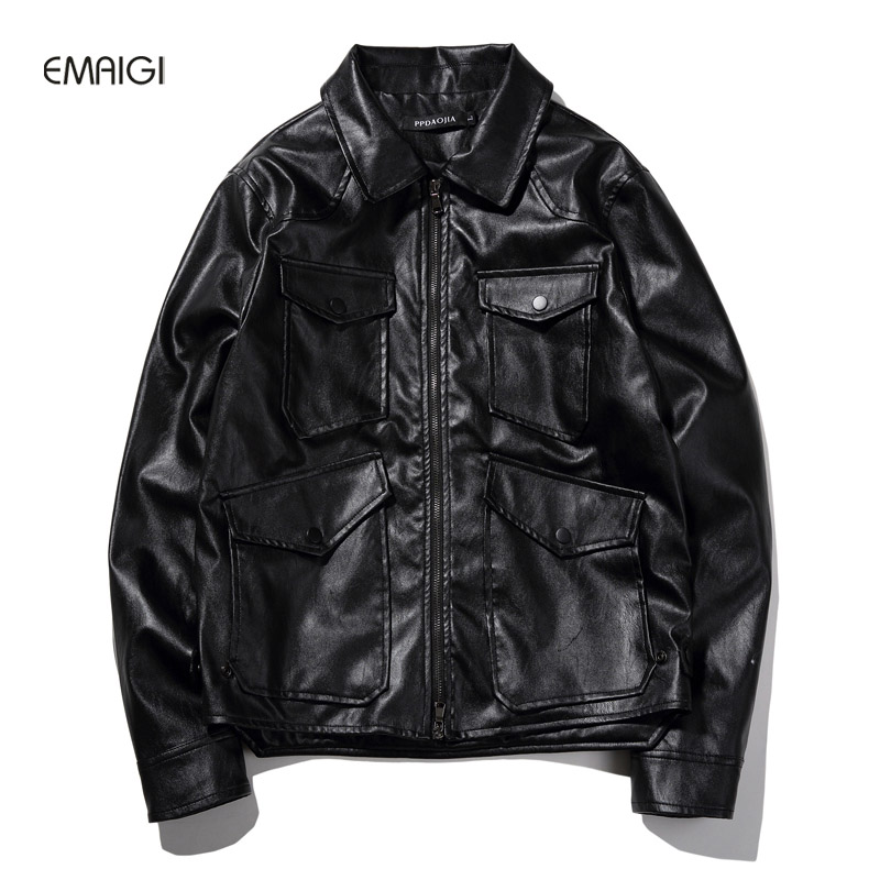 Male Leather Jacket 2017 New Spring Autumn Mens Fashion Casual PU Leather Coat Motorcycle Jacket Plus