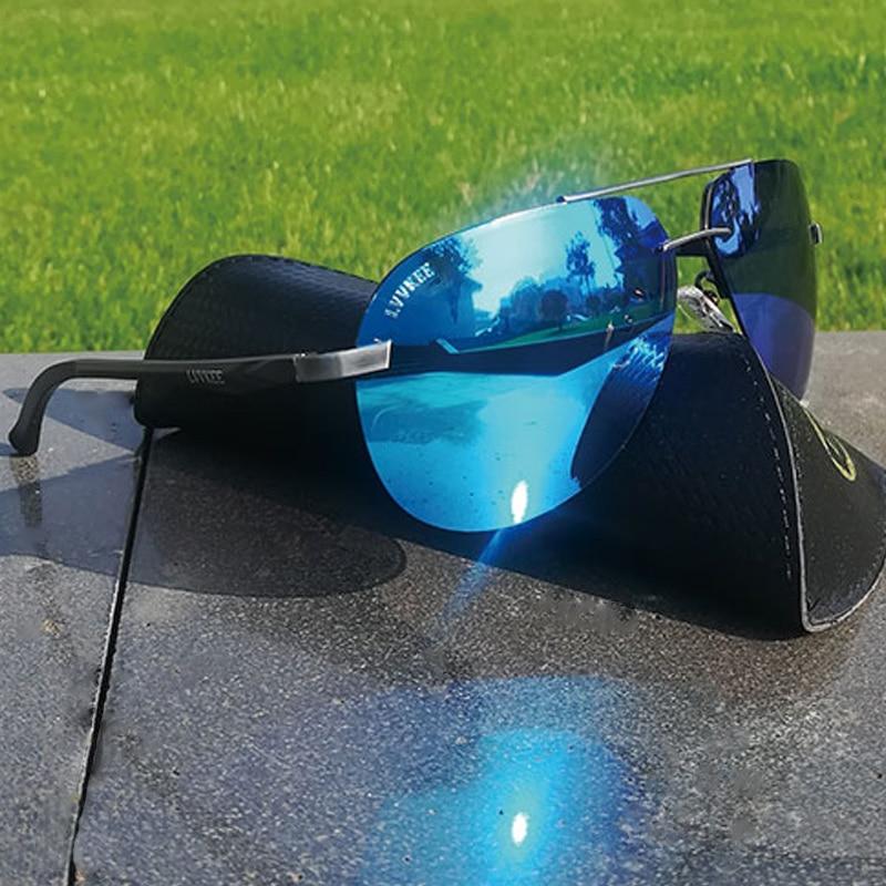 dac0b590d Lvvkee Alumínio Polarizadas óculos de sol Das Mulheres Dos Homens 2018 moda de  Luxo armação Sem Aro raios óculos de sol do Espelho piloto 62mm azul