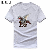 Q E J Men Fashion Summer T Shirt Cotton Short Sleeve Cartoon Print Novel Pattern Tees