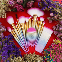 Docolor 19PCS Fantasy Brushes Collection Beauty Make Up Brushes Top Synthetic Hair Rainbow Hand Best Gift For Women
