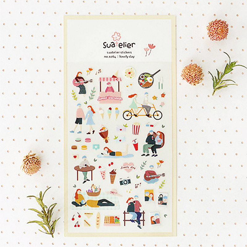 1Piece Kawaii Lovely Day Stickers Cute Suatelier Stickers Paper Adhesive Stickers For Kids DIY Scrapbooking Diary Toys Stickers