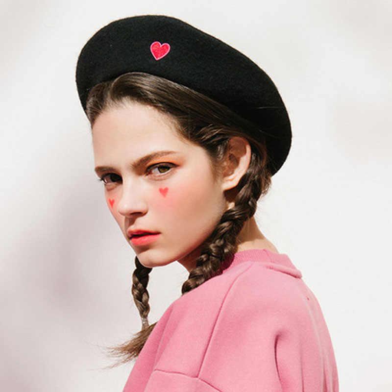 7c84a578bda76 Fibonacci Autumn Winter Vintage Black Cute Heart Embroidery Beret Women  Artist Cap Ladies Wool Hat Headwear