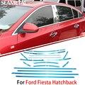 Para Ford Fiesta Hatchback 2013 2014 2015 Coche Ventana Completa Recortar Chrome Cubre Cromo Styling Tiras Decoración Accesorios