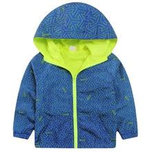 Hooded Boys Jackets Sport Camo Coats For Baby Boys Outerwears 1-8Y Children's Jackets Autumn Fluorescent Outdoor Windbreak SC142