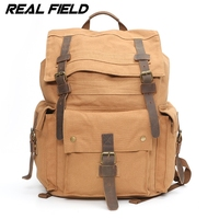 Real Field Vintage Leather Military Canvas Backpack Men S Backpack School Bag Drawstring Bagpack Rucksack Van