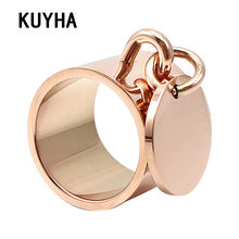 Luxury Rings Femme Engravable Round Tag Charm Fashion Jewelry 5 Colors 15MM Wide Stainless Steel Customizable Logo/Name Ring(China)