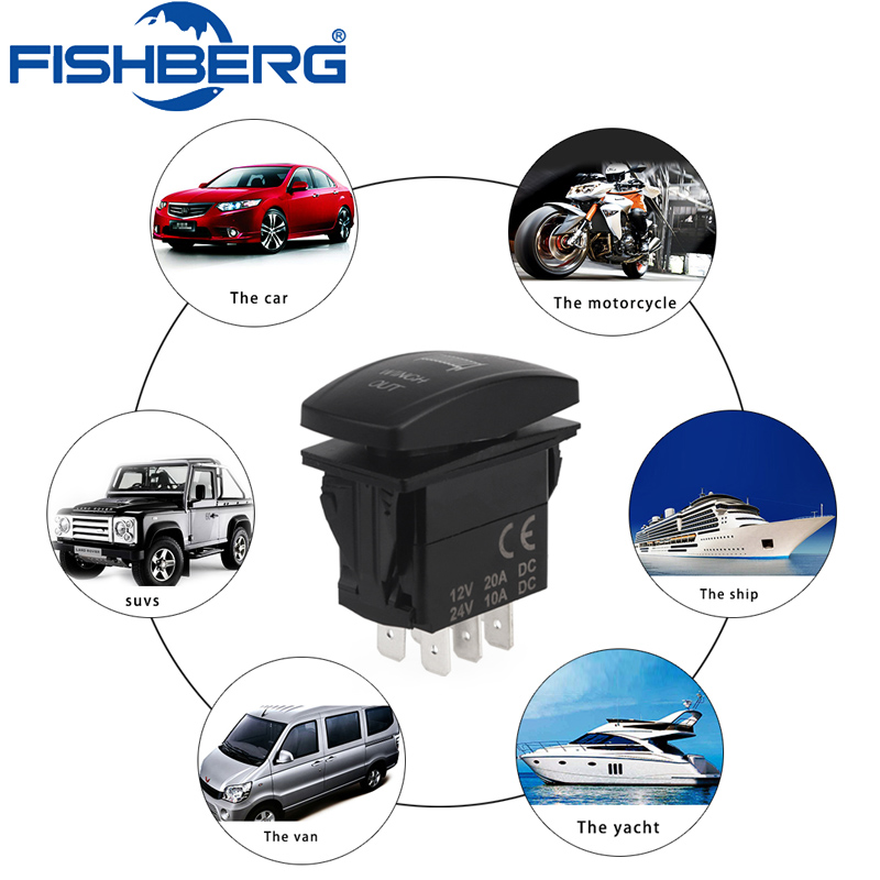 7pin Momentary Winch Rocker Switch In Switch Out Waterproof ON-OFF-ON 20A/12V or 10A/24V illuminated Switch For Car Truck Boat