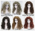 Natural fluffy Blonde/brown Long Wavy Curly Wigs High quality synthetic hair wigs free shipping