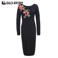GLO STORY Women Embroidered Pullover Sweater Dress 2017 Autumn Winter Fashion Vintage Solid Vestidos Robe Dresses