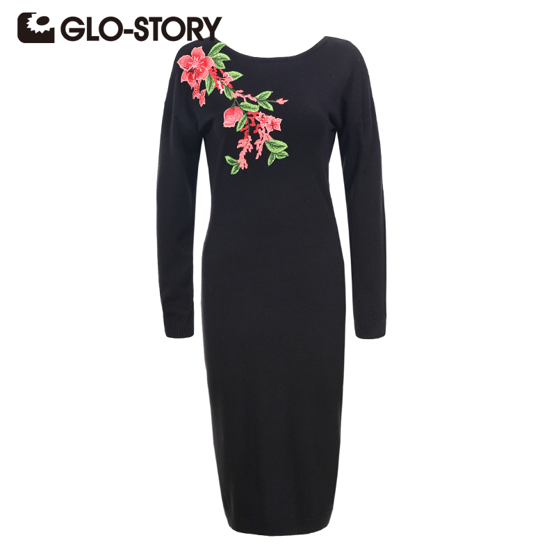 GLO-STORY Women Embroidered Pullover Sweater Dress 2018 Autumn Winter Fashion Vintage Solid Vestidos Robe Dresses 5682