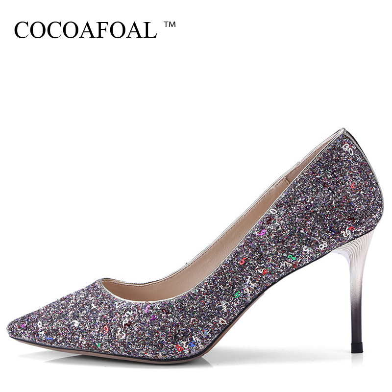 COCOAFOAL Woman Red Wedding Pumps Plus Size 33 - 43 Bling Sexy High Heels Shoes Shallow Fashion Party Pointed Toe Pumps 2018 doratasia 2018 plus size 32 43 crystal fashion brand shoes women sexy high heels pointed toe party wedding mules pumps woman