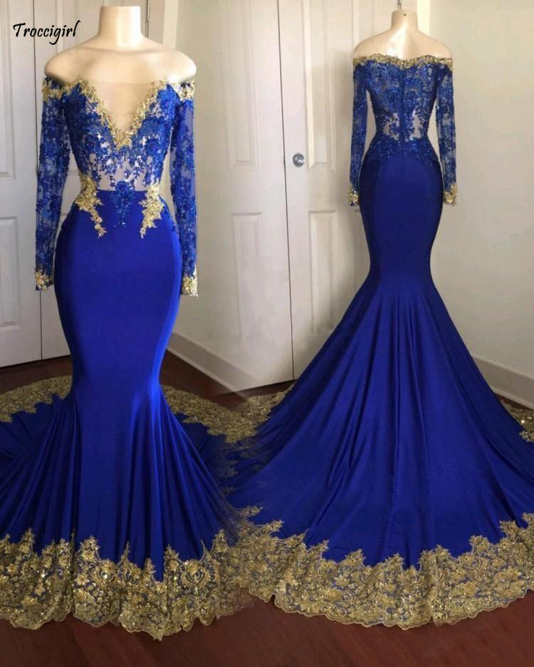 107-1                 2018 sexy cheap royal blue prom dress plus size dresses gold appliques vestidos de fiesta long sleeve prom dresses