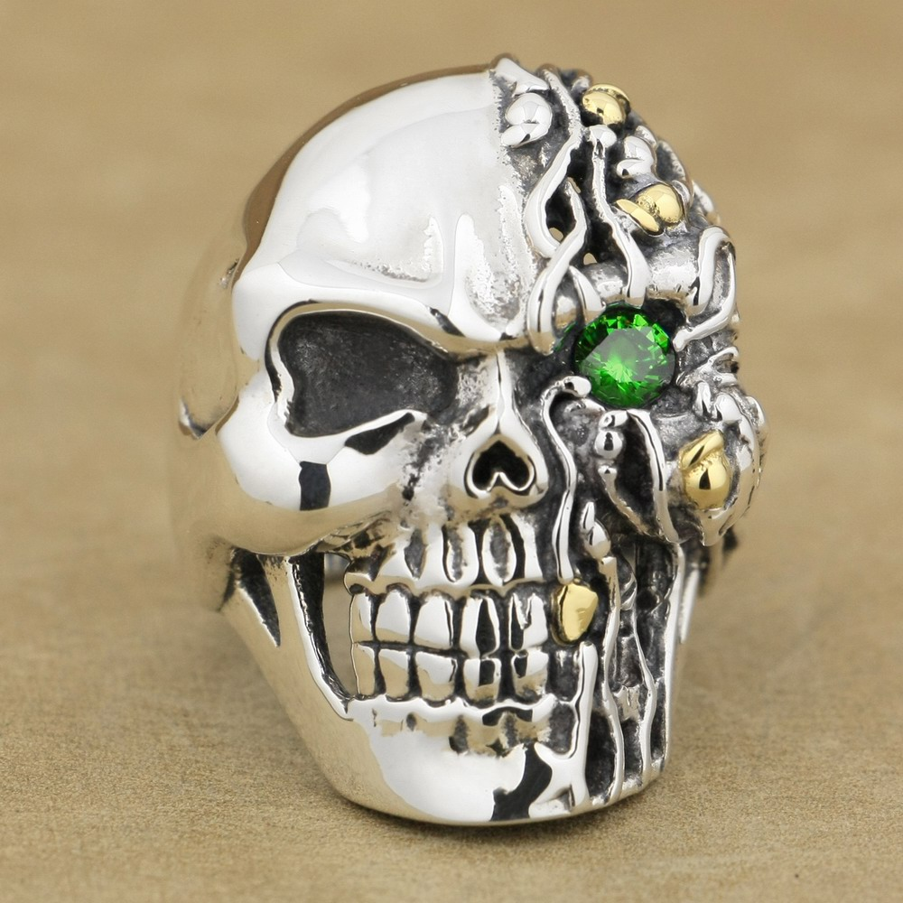 Green CZ Eye 925 Sterling Silver Skull Ring Mens Biker Punk Style 8V306A US 8~15 green cz eye 925 sterling silver skull ring mens biker punk style 8v306a us 8 15
