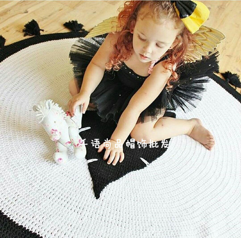 Leaves Design Cotton Knitted Baby  Play Game Toy Mat Gym  Round Cotton Rug Foam Floor Tiles Carpet For Kids Child Bed Blanket 120cm play mat baby blanket inflant game play mats carpet child toy climb mat indoor developing rug crawling rug carpet blanket