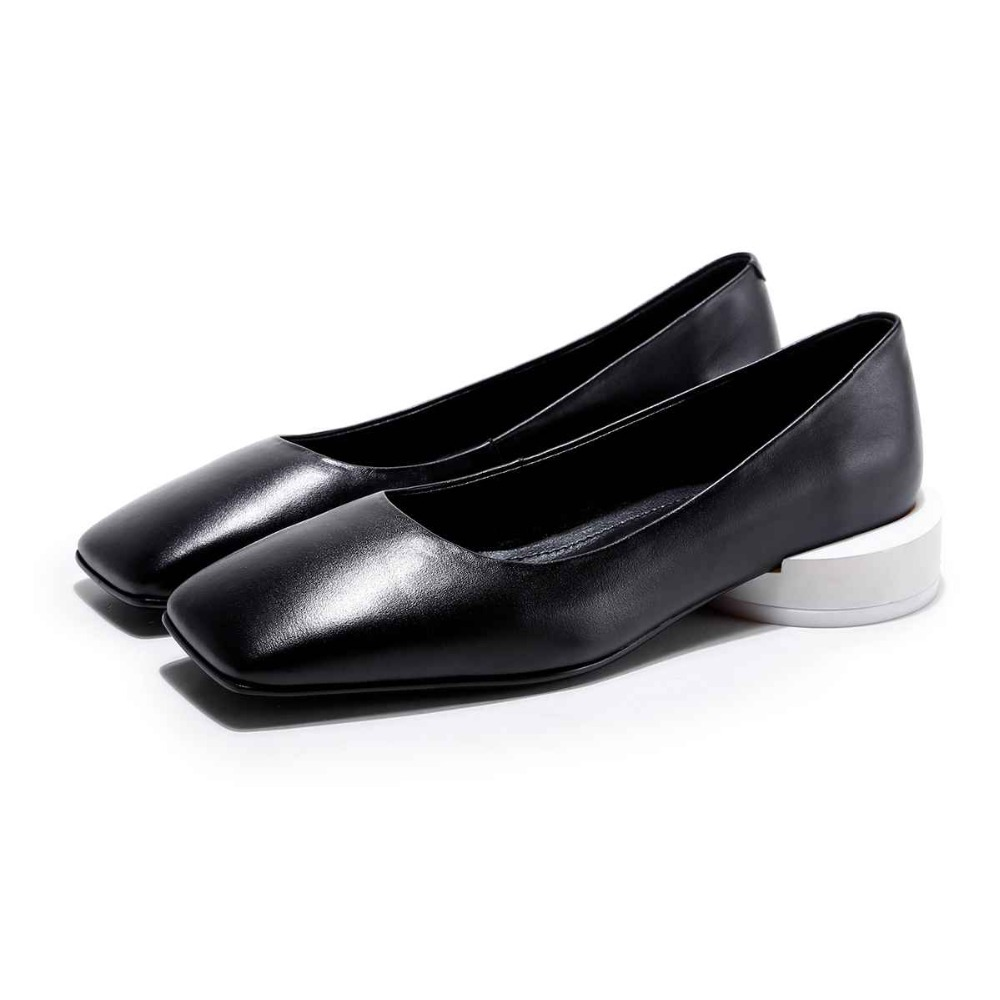 Lenkisen European style square toe slip on summer brand shoes low soft strange heels shallow big size women leather pumps L32