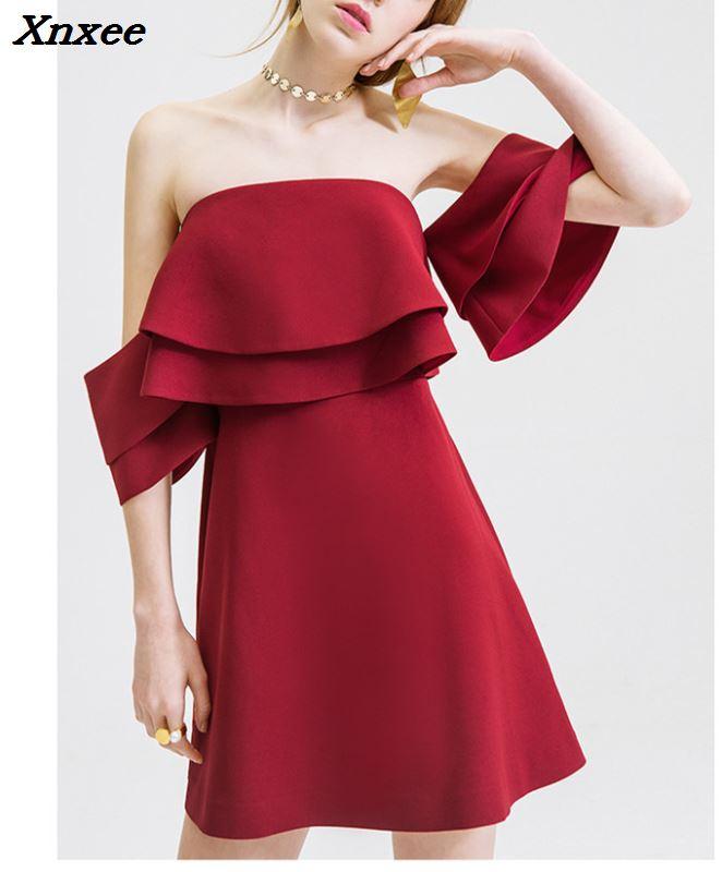 2018 femmes bordeaux noir robes courtes nouveau hors de l'épaule femmes de luxe bal soirée fête de haute qualité Mini robe Vestidos