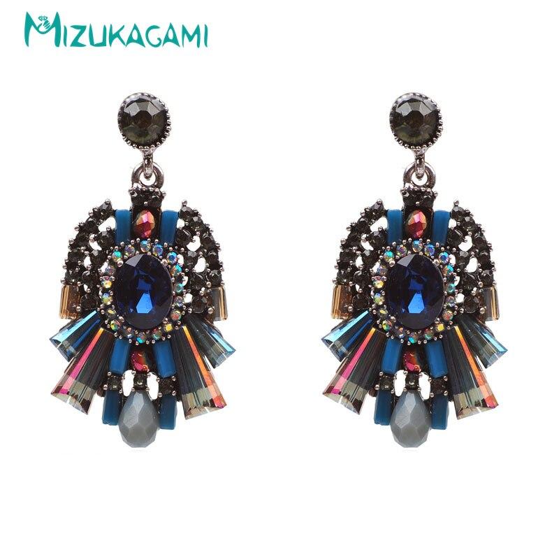 New Bohemia Earrings for Women Purple Zinc Alloy Glass Women's Fashion Crystal Earrings Drop Earrings Jewelry 2019