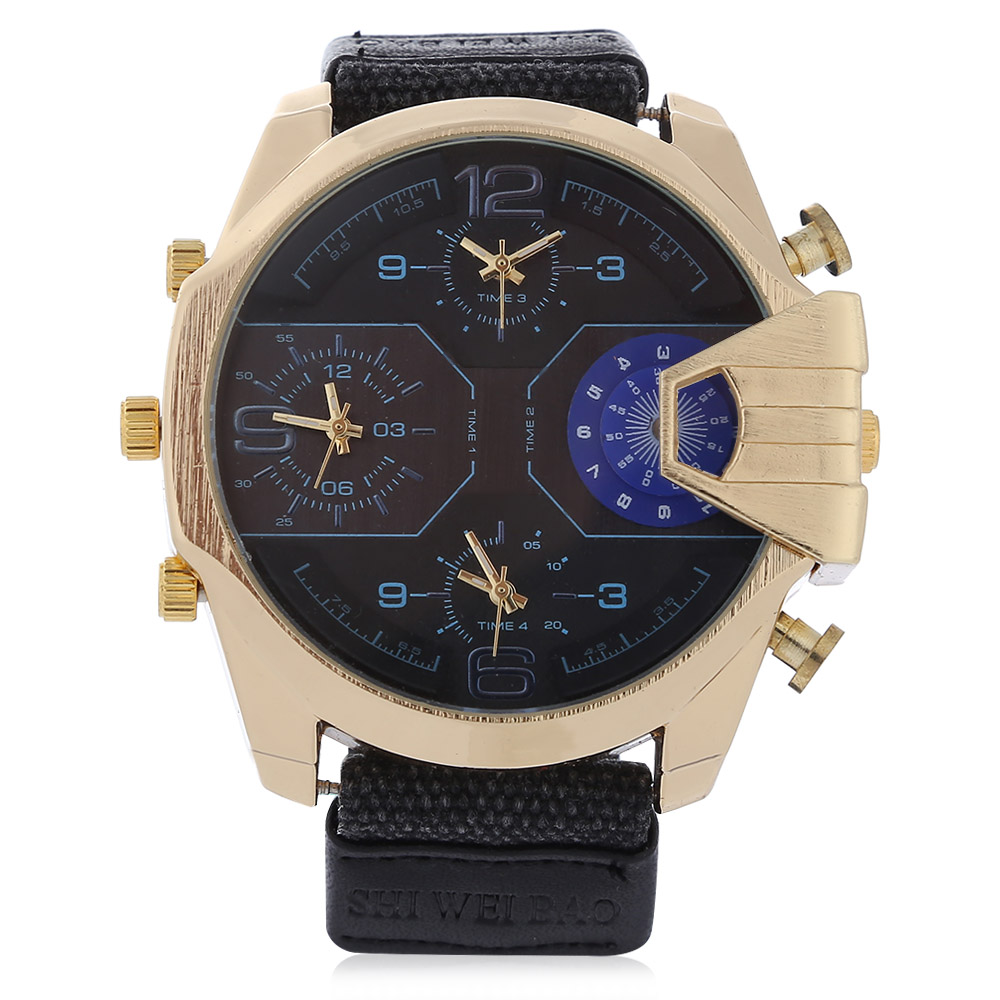 military watches four time zones quartz watch for men  (7)