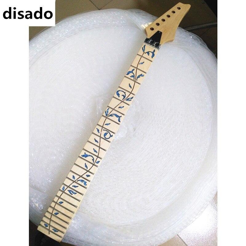 Disado 24 frettes érable guitare électrique cou érable touche incrustée bleu arbre de vie bois couleur accessoires guitare pièces