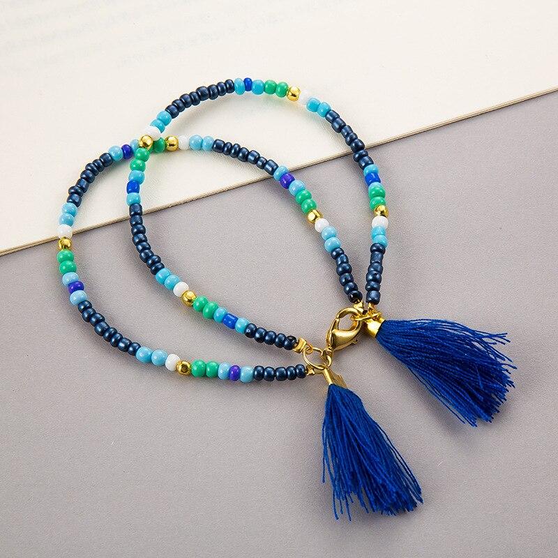 Noter New Fashion Anklets For Women Girls Dark Blue Tassel Foot Bracelet Summer Beach Jewelry Feet Accessories Best Friend Gift 2