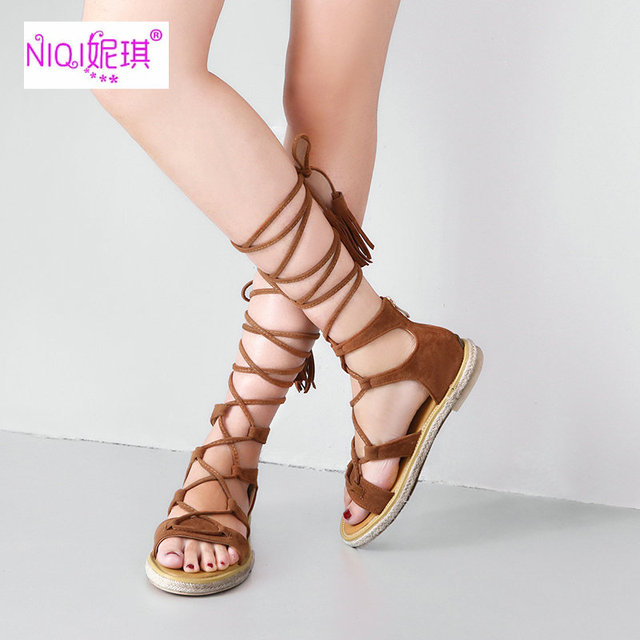 5e96a3ac64074b NIQI 2017 Summer Hot Flat Shoes Women Genuine Leather Low Gladiator Casual Women  Sandals Size 12 Cross-Tied Luxury Shoes Brand