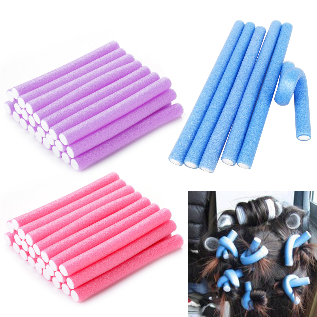 10pcs/Lot Hair Curler Makers Tools Soft Foam Bendy Twist Curls DIY Styling Hair Rollers Tool For Women Hair Accessories
