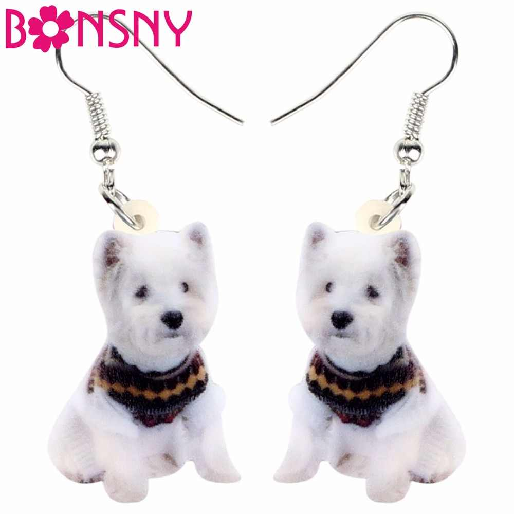 Bonsny Acrylic West Highland White Terrier Dog Earrings Drop Dangle Cute Fashion Animal Jewelry For Women Girls Teens Gift