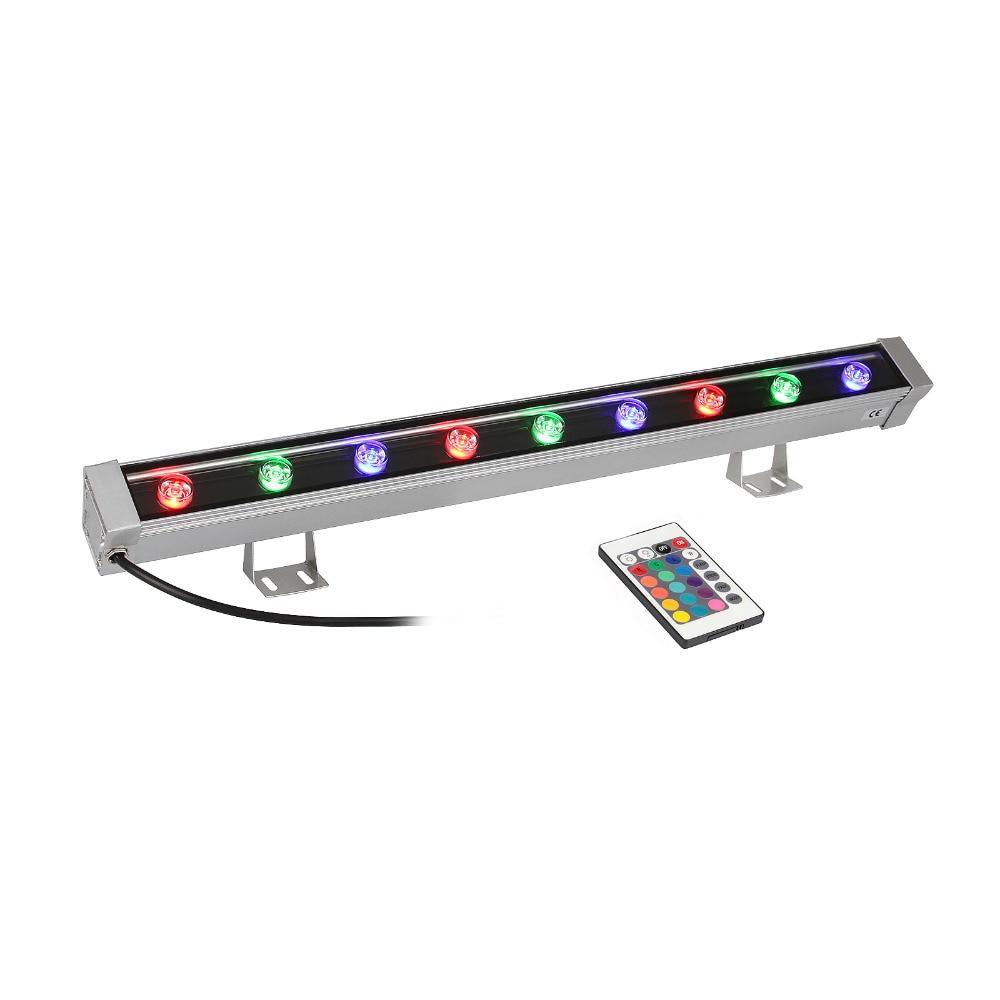 TSSS RGB Linear Wall Wash Light with Remote Control 9W Bar Aluminum Alloy DJ Stage Lighting Waterproof IP65 Disco Backlighting remote rgb control waterproof 100% plastic led night light