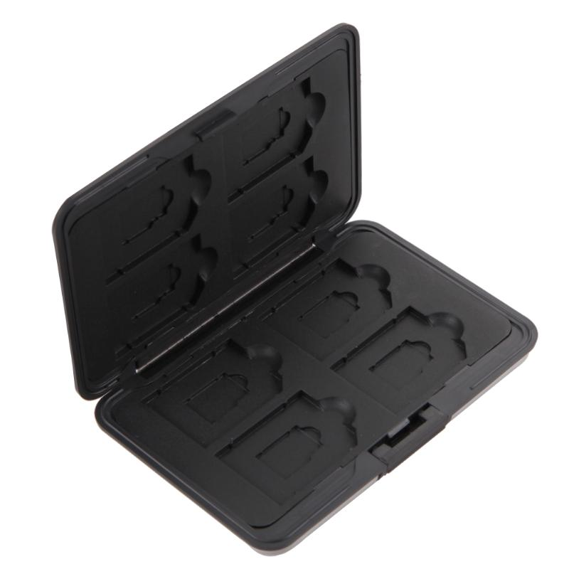 Memory Card Storage Box Case Holder With 8 Slots For SD SDHC MMC Micro SD Cards Aluminum Card Case