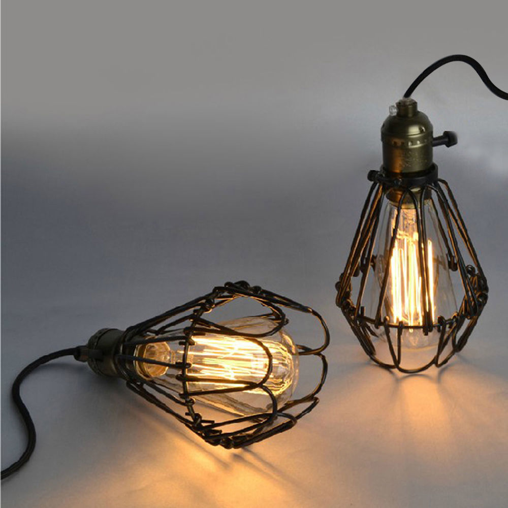 LukLoy Vintage Pendant Lamp, Industrial Lamp Light Iron Cage Edison for Kitchen Island Dining Room Corridor Ceiling Decor vintage edison industrial barn cage chandelier with 6 lights painted finish ceiling lamp for dining room cafe store restaurant