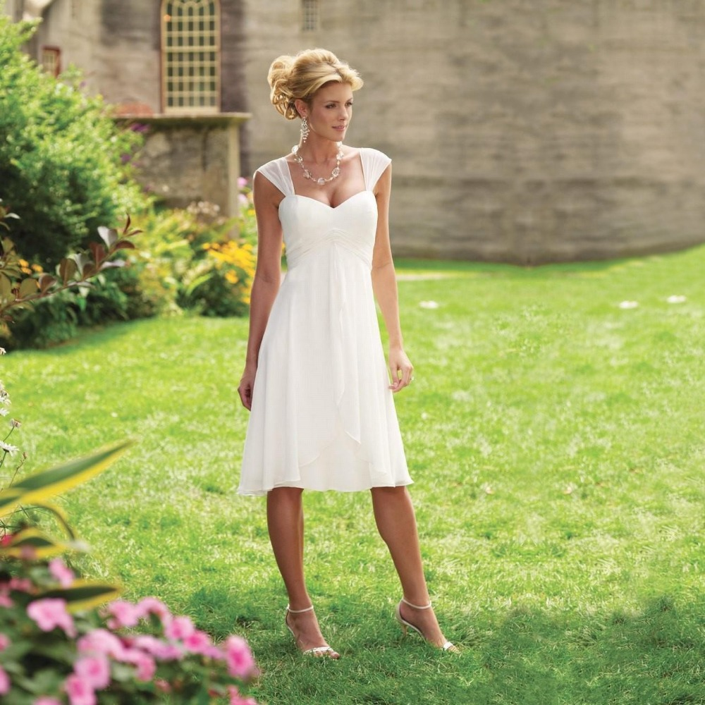 Summer Beach Knee Length Chiffon 2018 Pleated Sweetheart Neckline Cap Sleeves Short A-line Zipper Bridal Gown   bridesmaid     dresses