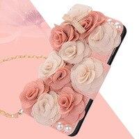 Case Voor Apple iPhone 7/7 Plus/6/6 s/6 Plus/5/5 s Cover bloem Flip kaartsleuf Pu mooie met Strap Wallet behuizing kimTHmall