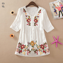 New 2017 summer embroidery style women clothes 100% cotton shirts plus size casual blusas femininas shirt blouses