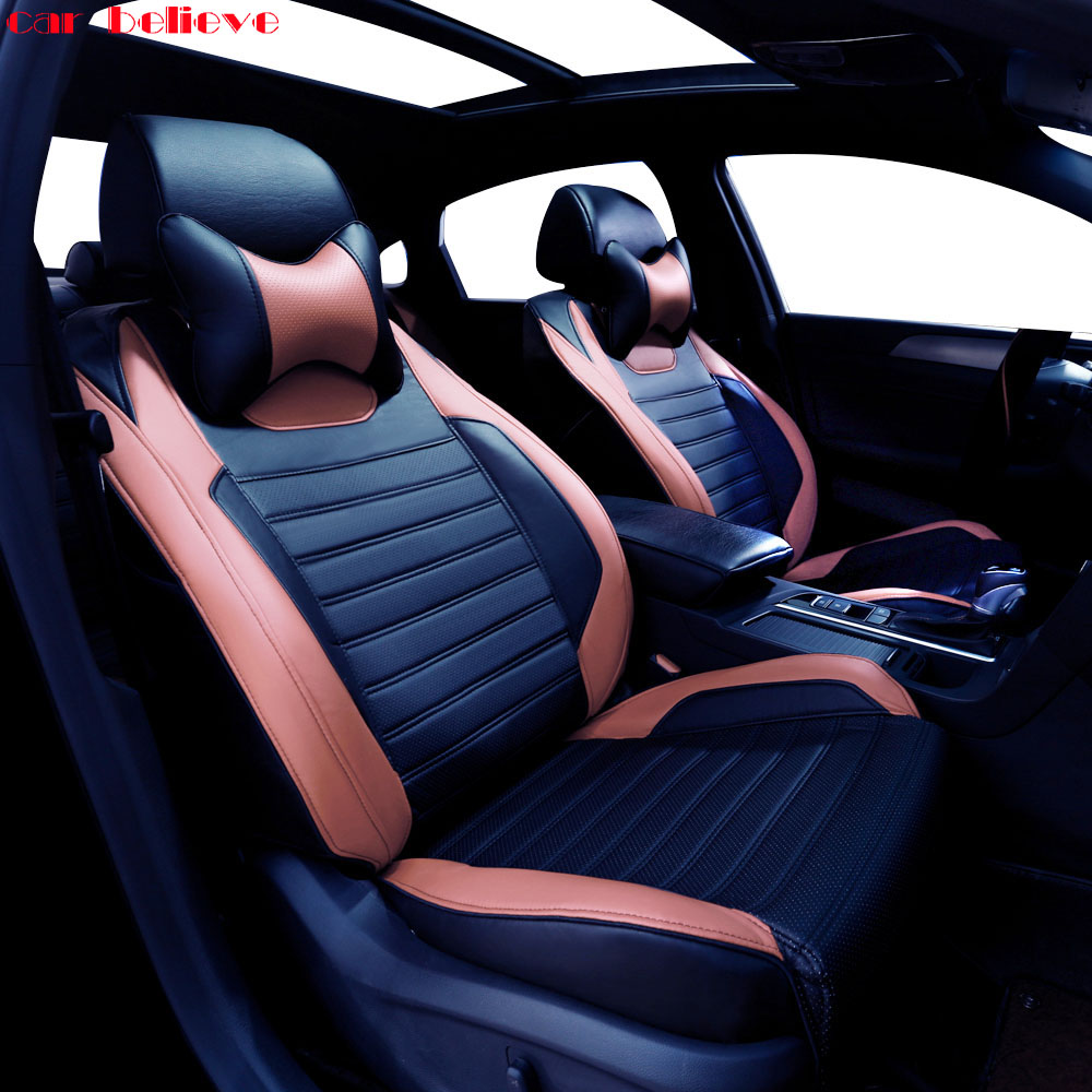 Car Believe Auto automobiles leather car seat cover For Audi A6L Q3 Q5 Q7 S4 A5 A1 A2 A3 A4 B6 b8 B7 A6 car accessories styling
