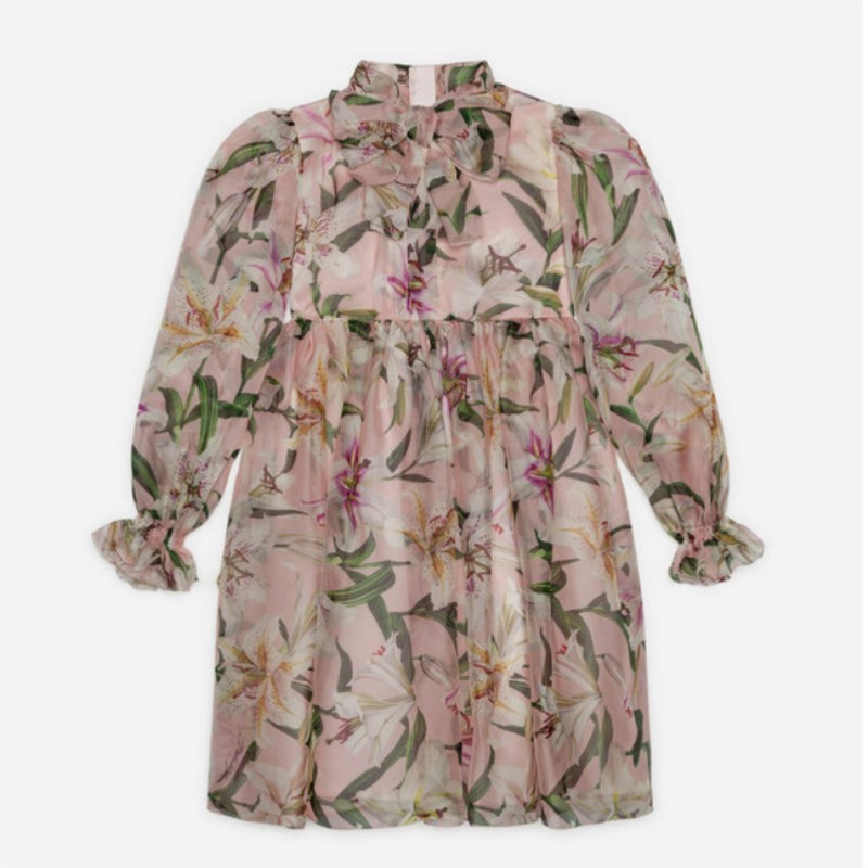 2019 NEW Autumn Pink Lily  Pattern Printed Baby Girls Dress Party Boutique Puff Sleeve Chifon Dress For Girl Bow Dress