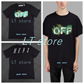 OFF-WHITE 17ss MENS BLACK FERNS T-SHIRT  BLACK  ROUND NECK  FERNS PRINT cotton t shirt