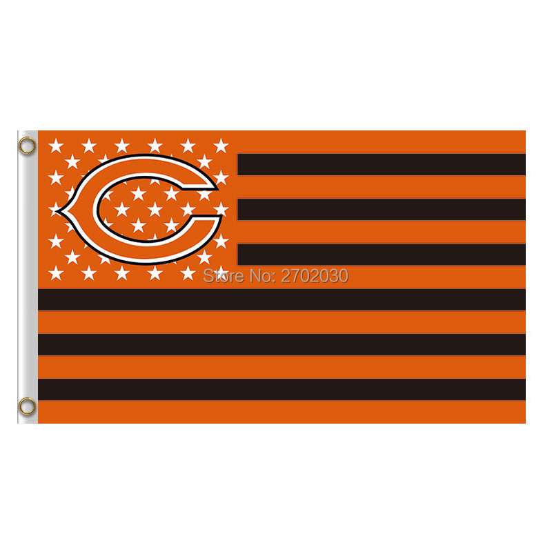 Us Star And Strip America Chicago Bears Flag Vs Denver Broncos Banners Football Team Fla ...