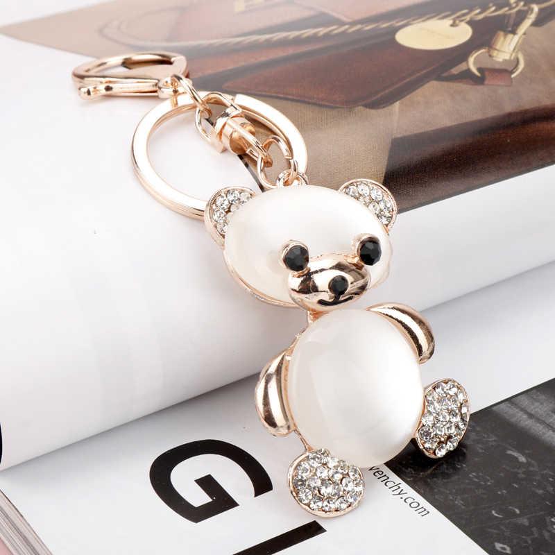 MQCHUN Thời Trang Đáng Yêu Pha Lê Rhinestone Gấu Vàng Móc Chìa Khóa Chuỗi Keychain cho Túi Xe Treo Pendant Jewelry-10