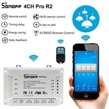 Sonoff 4CH Pro R2 Smart Wifi Light Switch 4 Gang, 3 Working Modes Inching Interlock Self locking RF/Wifi Switch Works With Alexa