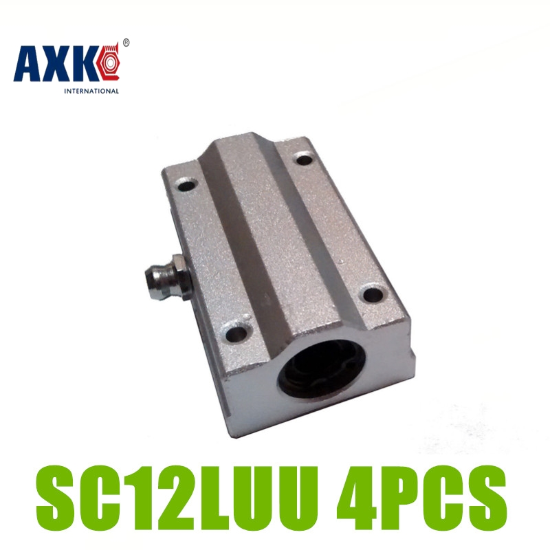 AXK 4pcs/lot Linear Ball Slide Bearing Block CNC 12mm SC12LUU SCS12LUU axk sc8uu scs8uu slide unit block bearing steel linear motion ball bearing slide bushing shaft cnc router diy 3d printer parts
