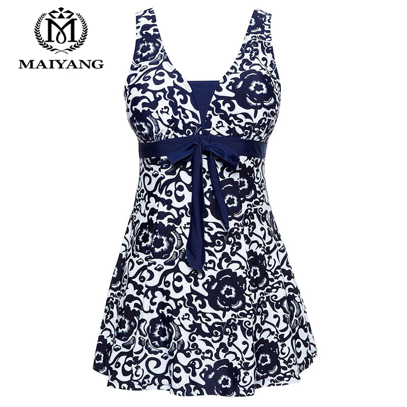 Plus Size Swimwear Padded Halter Women Skirt  One Piece High Waist Push Up Swimwear Beachwear Bathing Suit Swimsuit Dress XS-XL