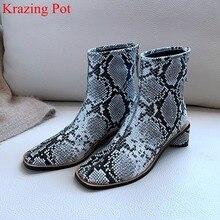 Superstar Botines de piel auténtica con cremallera y punta cuadrada para mujer, botas elegantes de pasarela, calzado de invierno, talla grande, L09