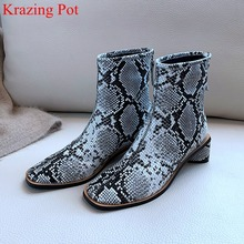 superstar big size genuine leather zip square toe med heel women ankle boots runway elegant fashion boots brand winter shoes L09