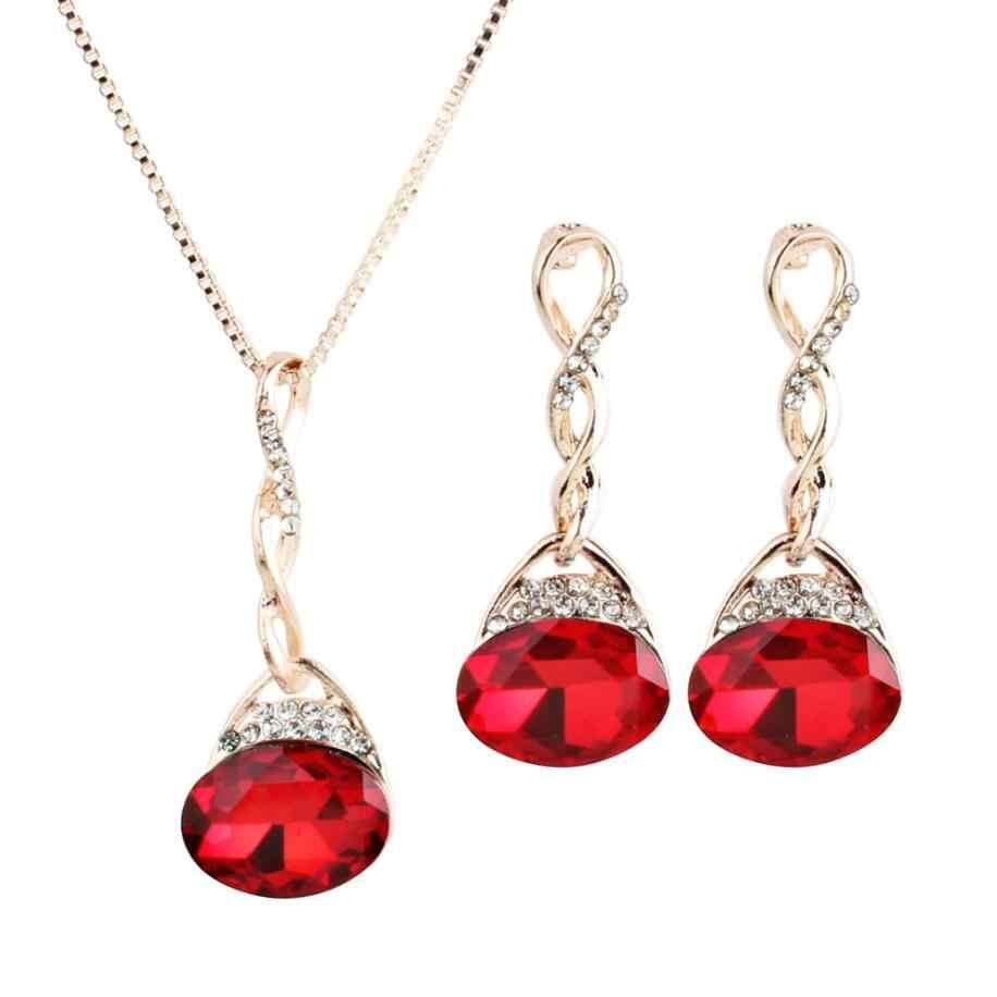 Горячие модные украшения с опалами наборы для женщин кубического циркония капли воды ожерелье кулон серьги заявление свадебный подарок