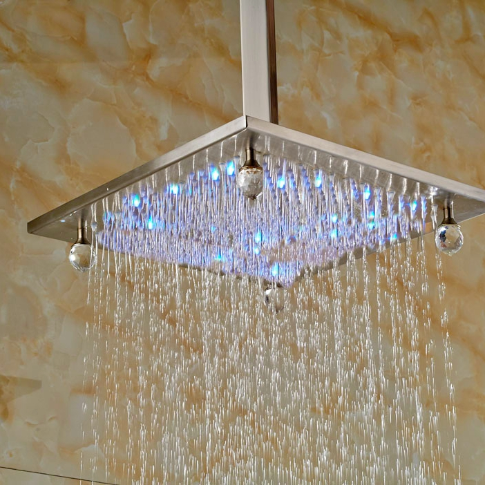 LED Light Brushed Nickle Shower Head With Arm Ceiling Mounted