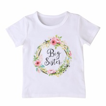 Big Sister Letter T shirt Summer Kids Clothes Short Sleeve T-shirt Floral Tops Tee White Girl T shirt Family Matching Suit D15