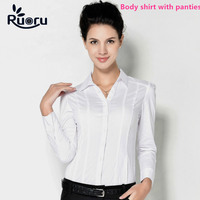 Ruoru Blusas Blouse Body Shirt Blouses Women Blusa Shirts Tops Casual Long Sleeve Slim Fit White Formal for Woman Work Clothes