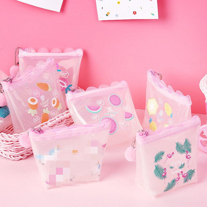 PACGOTH 2018 New Korean Style Kawaii Transparent PVC Coin Purse Fresh Girls Pink Series Fruit Pattern Coin Cash Clutch Cases 1PC