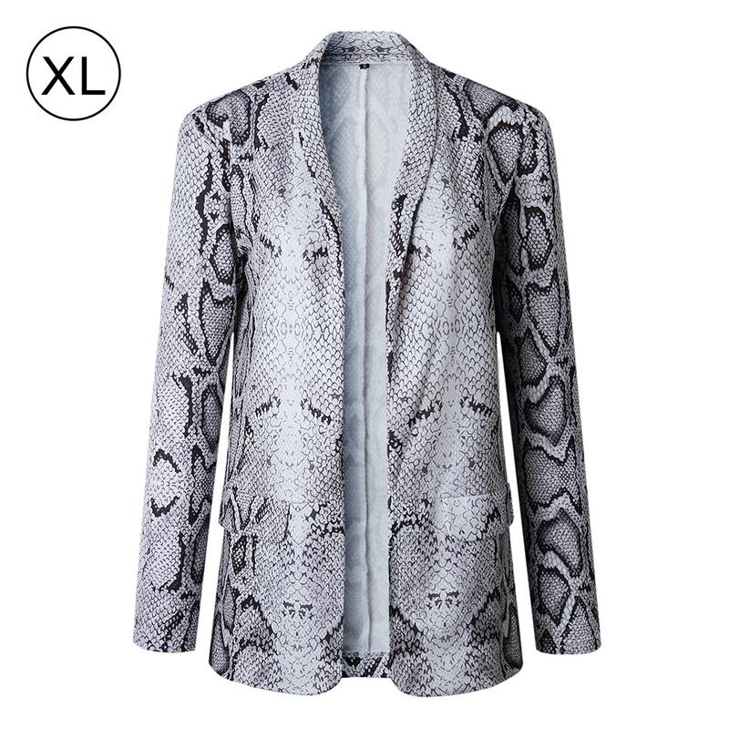 09f709f9b5a  0  Business Suits Womens Fashion Snake Print Autumn Winter Long Sleeve  Coat women s jacket Leopard female jacket blazer feminino -in Blazers from  Women s ...