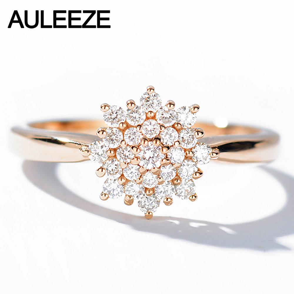 AULEEZE Romantic Flower 0.30CT Natural Diamond Ring 18k Rose Gold Real Diamond Engagement Wedding Ring kcchstar 18k crystal ring with artificial diamond golden purple